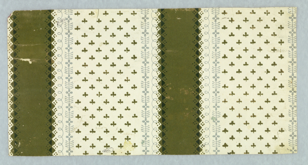Green flocked alternating with wider white band. Repeating motif of stylized three-petal foliage. Green flock is overprinted with darker green. Printed in green flock and gray on white satin ground.