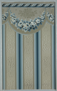 Stripe sidewall with attached border, three moired stripes in grey, surrounded by wide stripe of grey, light blue, medium blue, dark blue. Border: festoon shaped with garlands of blue roses, highlighted in gold, trophy hanging from leaf-twist molding.