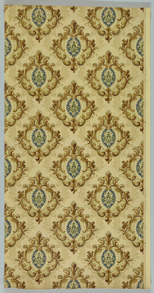 Diamond trellis pattern, formed by square foliate medallions. Printed in green, shades of brown and tan on off-white gridded background.