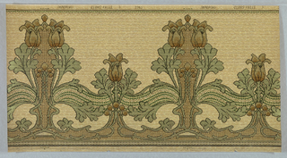 Large-scale Mission-style tulips, alternating between two tall flowers with one shorter flower.  Printed in yellow, brown and green on a textured ground.