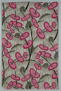 Strie ground covered with palm-like fronds, overlaid with black branches skewered with ovals in pink and dark pink. Printed in dark grey, black, pink and dark pink on a silver ground.