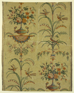 Arabesque design. Full width showing drop-repeating axial design of cassolette from which grows a bouquet of flowers, developed into a vine on the upper branches of which are perching birds. Printed on a light yellow ground having a crackled finish.