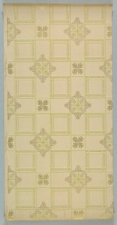 Tile-like ceiling paper with square cells with simple, rectangular borders alternating with large diamond-shaped medallions and small square medallions composed of foliate detail. Diamond-shaped medallions also contain Maltese crosses. Printed in beige, gold and white on khaki ground.
