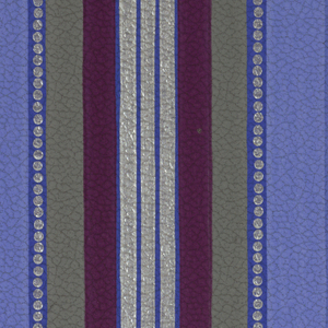 Three central stripes in silver, graduated stripes in various shades, embosed leather imitation paper. Printed in various blues, grey and voilet.