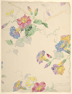 Art Deco pattern of morning glories with leaves and tendrils growing vine-like from an irregular stepped design of free-floating interlaced horizontal, vertical, and diagonal lines; painterly effect of foliage, with each flower composed of daubs of multiple colors; pattern overlaid with another, more regular pattern of small six-petaled flowers; morning glories are red, blue, yellow, and purple with green and grey foliage, grey linework, white overlaid pattern, beige ground.