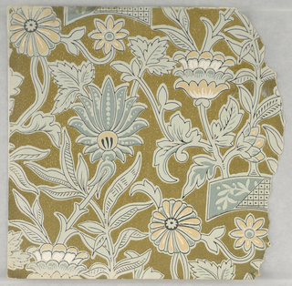 Fragmentary wallpapers from sample book, including aesthetic-style and Anglo-Japanesque designs.  72 pages of samples.