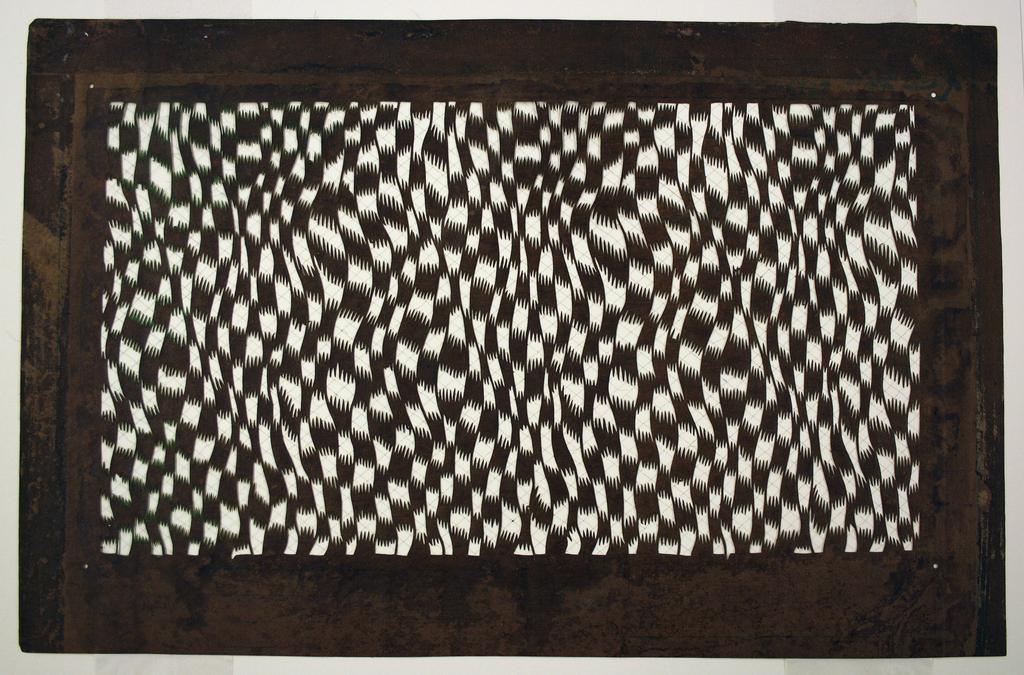 Stencil, Geometric Pattern Imitating Warp Ikat (Kasuri)