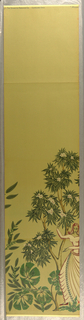 "Section A of ""Modern Classics"" figures with flowers and trees, pale green background"