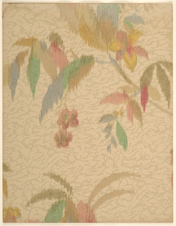 Modernist/Art Deco pattern of branches with tropical flowers and leaves; multi-colored flowers and leaves of different colors; blurred painterly effect as if sketchily-rendered in watercolor and then brushed vertically while still damp; background has irregular texture effect reminiscent of a cracking layer of paint; color scheme of green, blue, red, brown, and yellow foliage on beige-and-light brown ground.