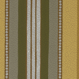 Central stripe in silver, graduated stripes in various shades, embossed leather imitation paper. Printed in shades of brown, grey and olive.
