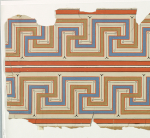 Double width of Greek key design, printed in blue, ochre, orange and black on white ground.  H# 4