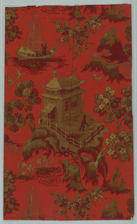 Chinoiserie design of pagodas, boats and flowers. Printed in burgundy, black, brown and gold on a red ground.