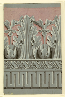 Large-scale acanthus and dentae. Printed in grisaille with pink background on gray ground.