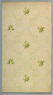 Very light diaper pattern composed of foliate sprigs. Brightly colored foliate sprigs set within framework.