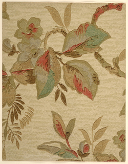 Modernist/Art Deco pattern of horizontal flowering branch with large leaves and flowers; motifs formed from soft watercolor-like blocks of color with outlining and veining formed with heavy brushstrokes; smaller leaves formed from teardrop brushstrokes; close, even wave stippling and horizontal streaks on ground gives burlap texture effect; gray flowers, multi-colored leaves using brown, grey, green, and red, brown branches; brown stippling and streaks on tan ground.