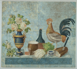 Horizontal rectangle for overdoor or fireboard. Still-life with rooster, vase of roses, loaf of bread, cheese, salt, wine bottle and bunch of turnips. Printed in colors on a blue ground.