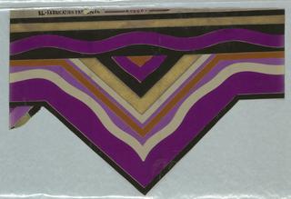Triangular shaped wallpaper border. Printed in magenta, grey, black, pumpkin and gold.