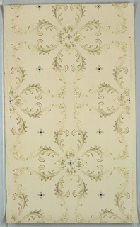 Eight acanthus leaf scrolls branch off from a square formed by four floral sprigs. Four floral bouquets or sprigs separate acanthus scrolls. A petite flourish fills each void. Printed on tan or off-white ground.
