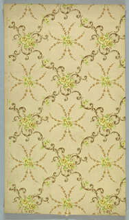 Grid or trellis pattern composed of acanthus scrolls, a floral motif or bouquet fills the intersection. A foliate motif with eight branches, floral motif at center, fills each void. Printed in green, yellow, brown, and metallic gold on light colore ground.