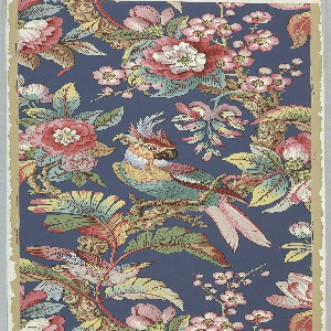 Large scale design in random arrangement. Large parrot and smaller bird on flowering branches. The seeming, not actual, ground is dark blue.  Printed in seventeen colors on neutral ground. Drop match.