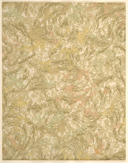 Modernist abstract pattern of rough, irregular swirling brushstrokes densely overlapping; soft, uneven colors give effect of watercolors brushed onto an irregularly-textured background, appearance similar to rough plaster effect; browns predominate with irregular strokes of muted red and yellow on a cream ground.