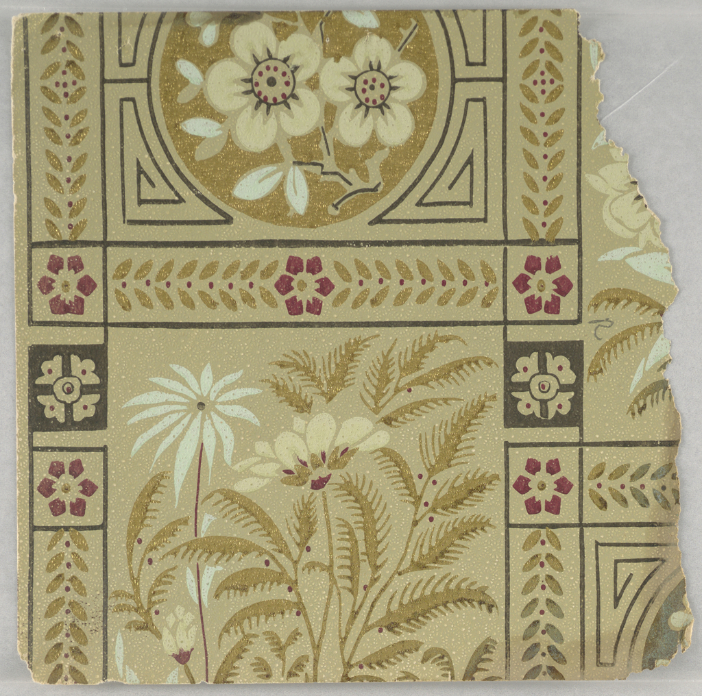 Fragmentary wallpapers from sample book, including aesthetic-style and Anglo-Japanesque designs.
