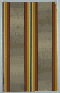 Central band of stripes between blocks of color in graduated shades with an irregular pattern of pebbles; brown, red, gold, shades of grey in blocks on background