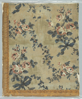 "Red roses on branch with bow know at end. Rose motifs separated by vining foliage with red berries. Printed in red, white, blue and black on spotted ground. Narrow acanthus architectural molding along 2 edges. Original document for ""Flower and Ribbon,"""