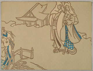 Chinoiserie design showing two figure in front of a building. Another figure on a bridge in lower left corner. Printed in off-white and blue on light tan ground.