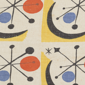 Printed fabric with a grid of yellow squares on a white ground, each containing a white circle with a black starburst and red and blue dots.