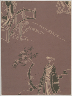 Chinoiserie design with female figure holding a closed parasol standing next to a tree, portion of bridge in upper left corner. Printed in green and white on brown ground.
