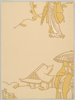 Chinoiserie design with two figures standing under a parasol, next to a building. Lower portion of a figure holding closed parasol in upper right. Printed in ocher and brown on light ocher ground.