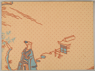 Chinoiserie design. Upper portion of a woman standing next to a tree, in front of a bulding. Printed in blue and orange on pale orange polka-dot ground.