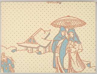 Chinoiserie design with two figures holding a parasol, standing in front of a building. Printed in blue and oragne on light yellow polka-dot ground.