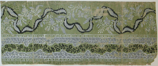 Wide upper band containing ribbon intertwined with vining foliage. Bottom band has lacy look - with central band of vining floral between two edge bands on vining foliage. Bands of beading above and below this bottom band. Printed in white, gray and black on green ground.  H# 525A