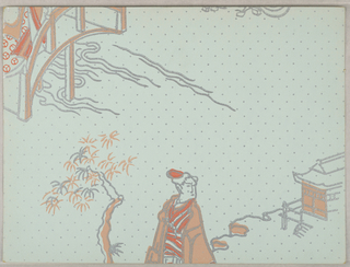 Chinoiserie design with top half of female figure standing next to tree, in front of a building. A portion of a bridge in upper left corner. Printed in two shades of orange and silver on light green polka-dot ground.