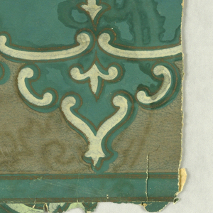 Small-scale light green scrolls printed on darker blue-green ground, contains sidewall and border fragments.