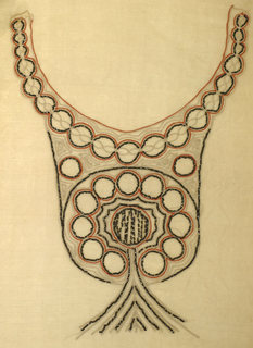 Panel for a dress front. Bib style, with festooned medallions and tassel pattern, with delicate chain stitch embroidery in tan and orange, accented with hematite beads, on ivory chiffon ground.