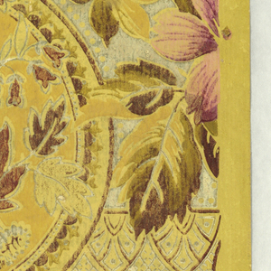 In the Aesthetic style, stylized foliage and floral motifs set within geometric divisions, printed in mauves and tans on off-white ground.
