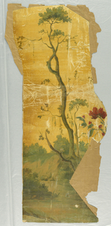 Small fragment, featuring one spindly tree, along with one branch of a bush bearing red flowers, scenic landscape in greens, with orange sky.