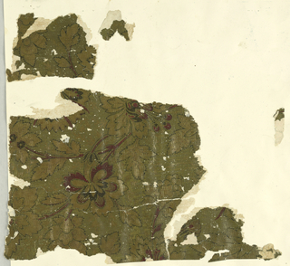 Small vining floral pattern, printed in dep red and tans, on possibly textured gold ground.