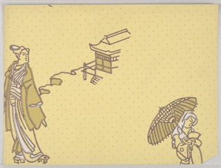 Chinoiserie design with two female figures: one in front of a building, the other carrying a parasol. Printed in ocher and white on the light ocher polka-dot ground.