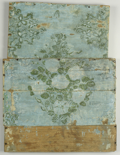 Large central bouquet, with remaining colors of green and white. Printed on blue ground, mounted on board.