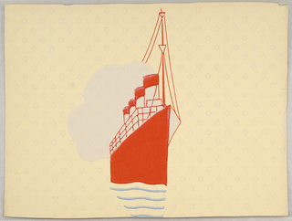 Design showing single motif of a large ship, probably a cruise ship, directly behind which is a large cloud. Printed in red and off white on starburst-covered yellow ground.