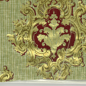 Large gold medallions, containing gold motif on deep red, printed on greenish-brown background imitating grasscloth.