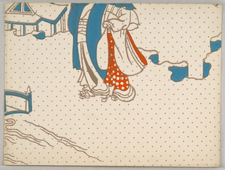 Chinoiserie design showing the bottom half of two figures, one covered in red print floral fabric. Printed in red and blue on off-white polka-dot ground.
