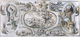 (A) The escutcheon is a lath and scrollwork frame of a horizontal ovoid. Between beams stand laterally, gaines of women with arm stump. On top sit three boys supporting a cloth with scalloped edges forming the background for the escutcheon. Festoons hang below.  (B) Reverse: The scrollwork frame of a landscape is entwined with a lath frame. A cherub is below the landscape. Fruit is lying upon the upper edges of the frames. Fruit festoons hang below.