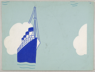 Design showing single motif of a large ship, probably a cruise ship, directly behind which is a large cloud. Printed in dark blue and off white on blue ground.