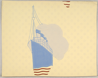Single image of a large boat, possibly a cruiser or cruise ship,, steam billowing out smoke stacks, ripples in the water beneath boat. Printed in light blue. gray, and red on sunburst-spotted pale yellow ground.