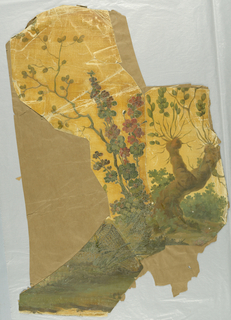 Small fragment; featuring gnarled old tree trunk, with new growth appearing along with branch with red flowers; landscape is printed in shades of green with orange sky.